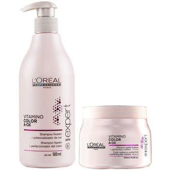Shampoo 500ml Mascarilla 500ml Vitamino Color A Ox Serie Expert Loreal Profesional