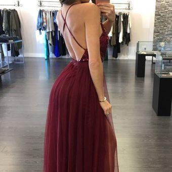 Vestido de Noche E-Thinker lentejuelas y tirantes E-Thinker para mujer -  Rojo ce27955c82e9