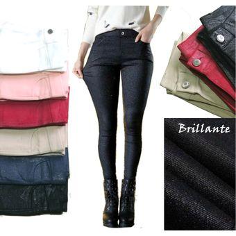 Pantalon Jean Brillante Negro Drill Stretch Ajustada Alto Mujer Linio Colombia Ge063fa132g3llco