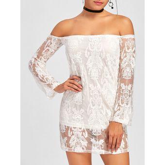 d4848d401 Compra Fuera del hombro ver a través del mini vestido (Blanco ...