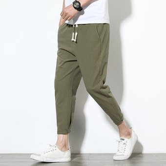 Pantalones Harem De Lino De Algodon Para Adolescentes Pantalones Casuales Solidos Hasta El Tobillo Para Hombre Ropa De Calle De Verano Para Hombre Harajuku Army Green Linio Peru Un055fa015idtlpe