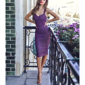 Vestido Delgado Sin Mangas Atractivo Vestido De Noche Espumoso Vestido Mujer Morado