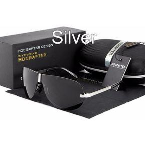 260a1e56c046 Hombres Polarizados Cuadrados Conduciendo Gafas De Sol-Silver
