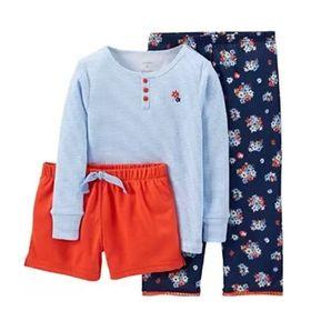 Pijama Niña 3 Piezas Carters -Flor Azul 2e795d8e9a1