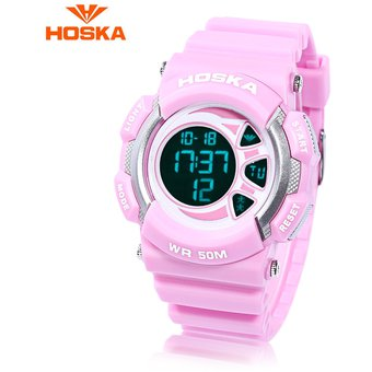 7f38425223c3 HOSKA H020B Reloj Digital LED Para Niños 5ATM Día Mostrar Reloj ...