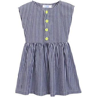 97c0d9e112 Compra Vestido Rayas O-cuello Sin Mangas Con Y Botón Para Niñas-Azul ...