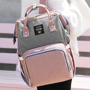 4ee6e51a4 Moda mamá maternidad mochila bebé Pañalera Tipo Bolso - Gris rosado