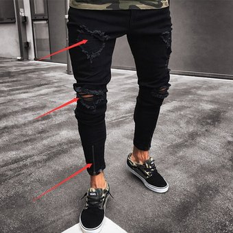 غير ذلك إنصهار السفر Agotado Moda Pantalones De Mezclilla Con Agujeros Para Caballero Jeans Hombre Negro Pleasantgroveumc Net