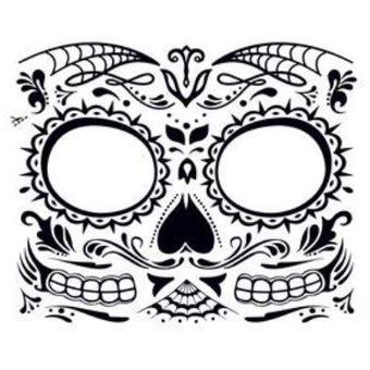 Compra Mascara Antifaz Tatuaje Temporal Dia De Los Muertos Calavera