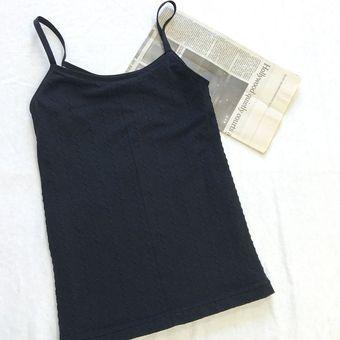 Otoño invierno mujer espaguetis correa Tank Top Underwear O-cuello Chaleco  engrosada Negro a462b3b4574d7