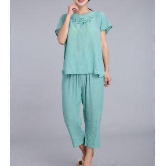 8427e50333 Agotado pijama con manga corta puro color casual suelto hacer bordados de  dos piezas ropa de casa