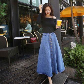 3ecae79ac estilo coreanocintura alta tipo sueltas faldas largas ropa Denim Azul