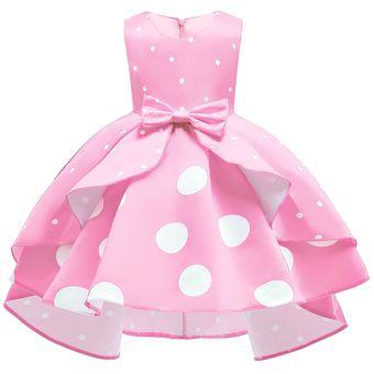 Vestido De Niña Vestido De Princesa Vintage De Lunares Rosa