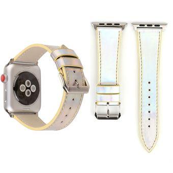 218c3e3cb974 Para Apple Ver Series 3 Y 2 Y 1 De 38mm De Moda Reloj De Pulsera De Cuero  Banda Laser De La Serie Original (Amarillo)