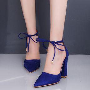 Zapatos azules Tacón cuadrado infantiles B7fuUq