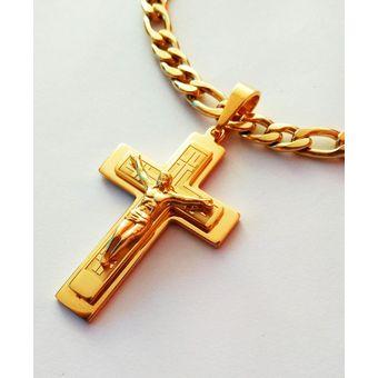 3c8cee7eb78d Agotado Collar Hombre Cadena Cartier Acero Enchapado Oro Amarillo Con Dije  Cruz - Dorado