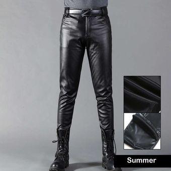 Idopy Pantalones De Piel Sintetica Para Hombre Pantalones Elasticos Negros Ajustados Para Moto Yua Linio Colombia Ge063fa12vw6jlco
