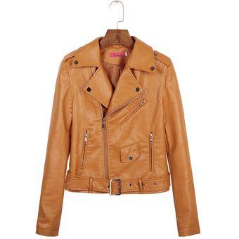 de Compra abrigo de solapa Marrón slim mujer doble cuero chaqueta ERW4rwqE