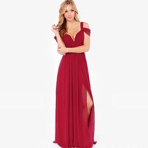5eb1b73e01 Vestido largo para fiesta Fashion-Cool para Mujer-Rojo