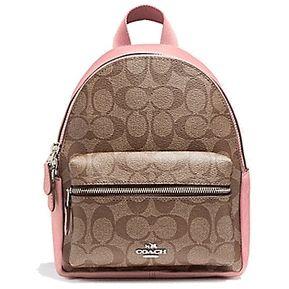 Mochila Coach F58315 Mini Charlie Backpack In signature Canva- Miel Rosa 42325e99482bf