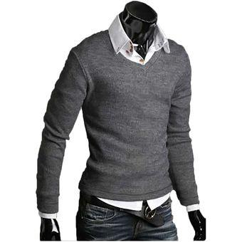 Compra Buso Hombre Sweater Cuello V Gris Online Linio