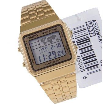 f41be93eeb40 Reloj Casio A500WGA-9D Unisex Dorado Correa Acero Inoxidable Iluminacion Led