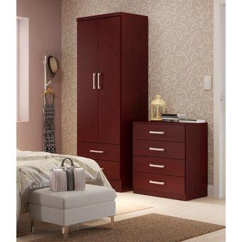 Ropero Closet Bertolini 599 2 Puertas 2 Cajones Caoba