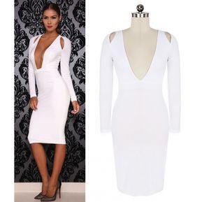 a5466eaad59a2 zeagoo Vestido con Escote de Pico para Mujer-Blanco