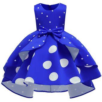 Vestido De Niña Vestido De Princesa Vintage De Lunares Azul