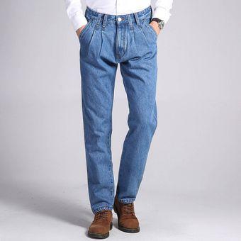 49f07d880 Pantalones Vaqueros clásicos de gran tamaño Jeans slim fit de algodón recto