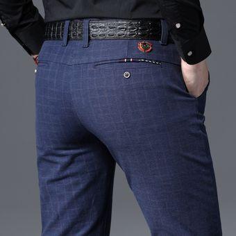 Pantalones De Tela Escocesa Informales Para Hombre Pantalones Elasticos De Estilo Clasico Negro Y Azul Ropa De Para Hombre Wot C9129 Black Linio Peru Ge582fa1fk9k1lpe