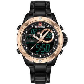 d96d9485f717 Reloj NAVIFORCE Unity 9120 Dual Multi Correas de Acero - Negro Dorado