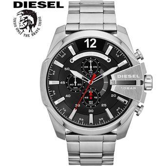 2f4acacab83f Agotado Reloj Diesel Mega Chief DZ4308 Fecha Cronometro Acero Inoxidable –  Plateado Negro