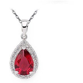 f711021335a8 Collar Gota De Cristal Austriaco Rojo Rubí Amour En Plata .925