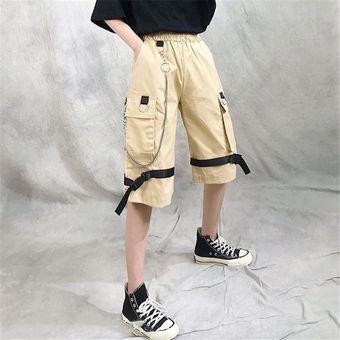 Ropa De Calle Harajuku Pantalones Cortos Informales De Harem Para Mujer Con Cadena Pantalones Largos De Estilo Hip Hop De Moda Goticos De Color Negro Solido Khaki Linio Peru Un055fa0trwnzlpe