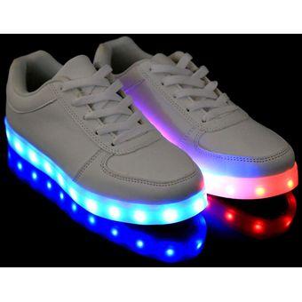 0cffa19fd58 Compra Zapatos Deportivos Con Luces LED Unisex-Blanco online