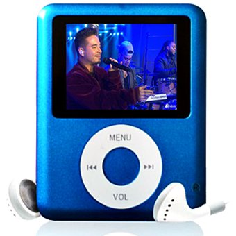 authentic quality 100% quality new high Mp4 MP3 Tipo Ipod Con Memoria de 16GB Música Vídeos Fotos Fm - Azul