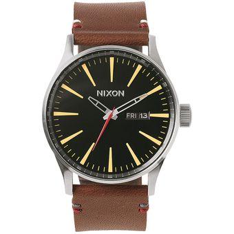 Reloj Sentry Cuero Negro Marron Nixon