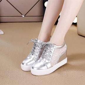 0a06fcfc433 Zapatos Zapatillas De Mujer De Encaje Para Alto De Ocio Y Deportes -Plata