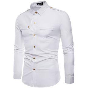 4c3c11eb78 Camiseta Manga Larga Cárdigan Broche De Presión Hombre-Blanco