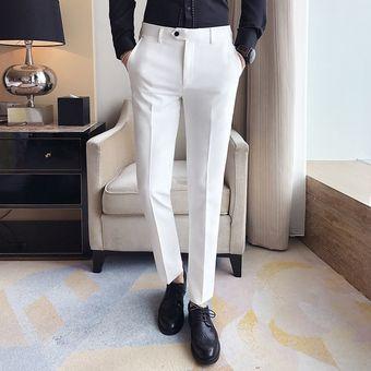 Pantalones De Primavera Y Verano Para Hombre Pantalones Blancos Puros A La Moda Pantalones Casuales Simples De Negocios A La Moda De Estilo Japones Para Hombre White Linio Peru Un055fa1i2brhlpe