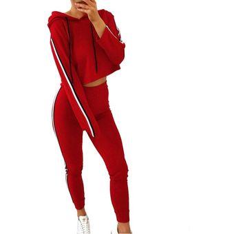 e68a1327142eb Conjunto de ropa deportiva Mujer Señoras Stripe Sudadera patrón Sudaderas  Pantalón Traje de sudor Rojo