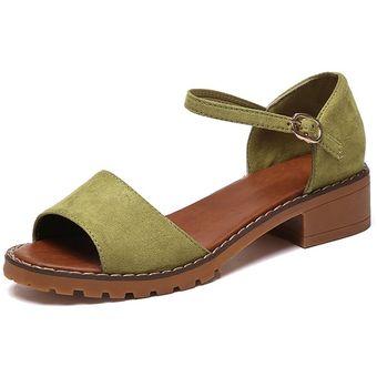 beed3b08 EY Verano Mujer Peep Toes Zapatos Tobillo Sandalias De Tacón Chunky  Elegante-Verde