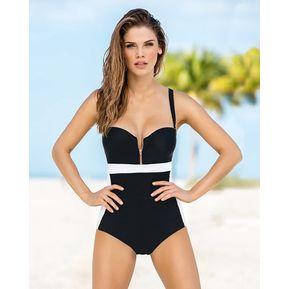 bbc59c1b5260a Vestido De Baño De Una Pieza Con Control De Abdomen - Swimwear Negro LEONISA