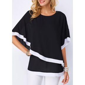 Nueva manga de murciélago de mujer cosiendo camisa de gasa irregular-Negro 4bd3d0bbb60a