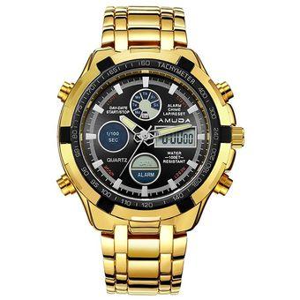 7c8c201dba37 Reloj Para Hombre Deporte Militar Reloj De Pulsera De Oro De Acero Lleno Led  Digital Back