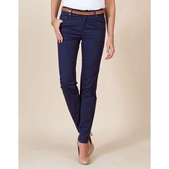 Pantalon Trabajo Azul Oscuro Jean Drill Stretch Ajustado Alto Mujer Dama Linio Colombia Ge063fa0ydj2xlco