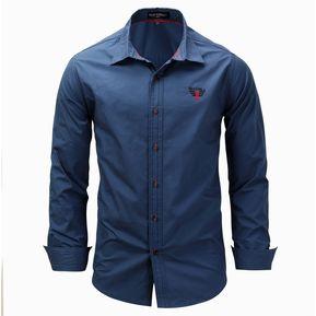 77e566e9 Camisa Lisa De Tamaño Grande Con Solapa De Manga Larga Casual Para Hombres  - Azul