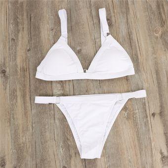 141a4e8f671f Europea y americana pura bikini elástico de color-Blanco