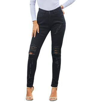 Hole Skinny Jeans Mujer Vaqueros Rasgados De Cintura Alta Negro Linio Peru Ge582fa07nmlclpe